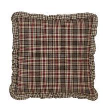 """Emery Fabric Ruffled Euro Pillow Sham 26X26"""" Red Black Khaki Plaid Cotton"""