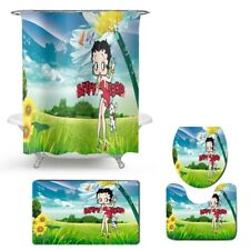 Betty Boop Bathroom Shower Curtain Toilet Seat Cover & Rugs Set BB Cartoon Set