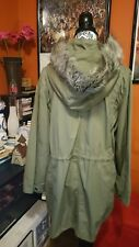 Style & Co Jacket Coat khaki With derachable Fur Trim Hood Zipper  snaps Sz 16
