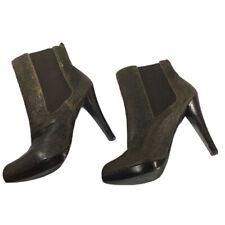 MICHAEL KORS Women Brown Tan Cognac Heel Booties Vegan Suede Leather Boot Sz 9.5