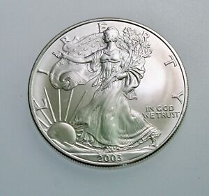 2003 1 oz American Silver Eagle $1 Coin  BU from mint roll  #859