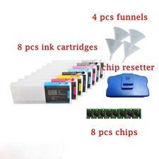 Epson Stylus Pro 7800 9800 Empty Refillable Ink Cartridge 8pcs + Chip Resetter