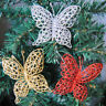 Xmas Glitter Artificial Flower Butterfly Christmas Tree Ornaments Wedding Party