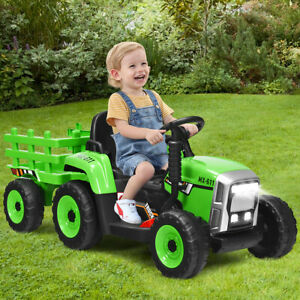 12V 3-Gang Kinder Traktor mit abnehmbarem Anhänger Kinder Aufsitztraktor