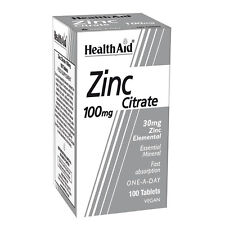 Health Aid citrato de zinc 100MG - 100 Tabletas