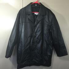 Vintage Men's Genuine Leather Coat Jacket Size Large Black