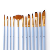 Set of 12 Painting Brushes Artist Acrylic Oil Watercolor Paint Drawing Art J4Z5