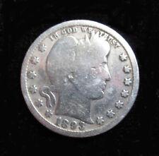 1893 Barber Quarter Dollar USA SILVER