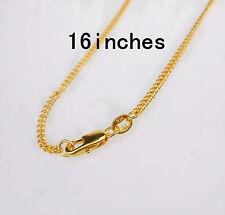"16"" 1PCS Wholesale  Jewelry 18K Gold Filled Flat Curb Necklaces Chains Pendants"