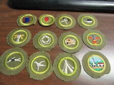 Boy Scout Khaki Crimped Edge Merit Badges, Lot of  12   c24