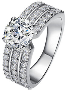 Platinum Plated AAA Zirconia CZ Triple Look Love Dress Promise Engagement Ring