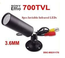 "1/3"" Sony Effio-e 700TVL CCD Mini Bullet Outdoor Invisible 8pcs IR 940NM Camera"