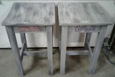 "1 Set of 2 Stools 24"" × 15"" × 15"" Grey Painted Wood"