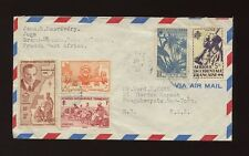 FRENCH IVORY COAST MULTI FRANKING COMBINATION to USA AIRMAIL BLUE CANCELS