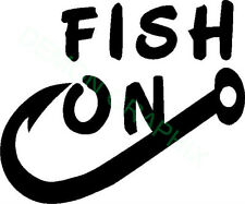 Fish On vinyl decal/sticker hook fish fishing boat river lake bass trout