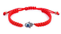 Kabbalah Red String Adjustable Bracelet with Hamsa Protection Hand and Evil Eye