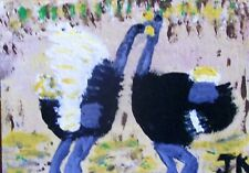 Outsider Art Animal Painting By Jan K '2 Ostriches' Signed Original