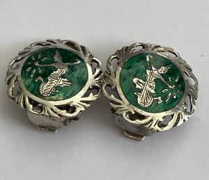 Vintage Siam Sterling Silver & Green Niello Mekkala Goddess Clip On Earrings