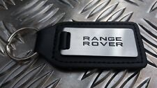 Land Rover Range Rover Quality Etched Black Infilled Premium Leather Key Ring