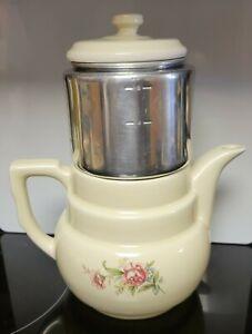 Vintage Drip-O-Lator Floral Porcelain Coffee & Tea Pot. Enterprise Aluminum Co.
