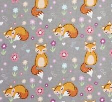 NEW Fabric Flannelette Fox Sleepy Foxes Grey Cotton Material HALF METRE x112cm