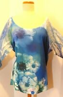 Women's Plus Size Style & Co.Colorful Top w/ Lace Sleeves Sz 3X Metallic thread