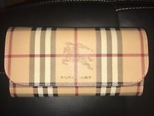 AUTH CORAL RED BURBERRY HAYMARKET CHECK AND LEATHER SLIM CONTINENTAL WALLET