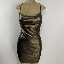 Gold Spaghetti Strap Fitted Party Dress Size M
