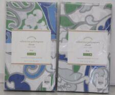 New Pottery Barn Valentina Palampore Organic Pillow Sham King Blue Set of 2
