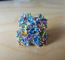 925 silver ring huge cluser swirl kunzite topaz citrine  amethyst tanzanite Q