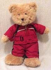 """15"""" The Bear Mill Plush Teddy Bear Wearing Red Snow Suit"""