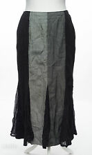 Rosies R L F Coll Black & Grey Stripe Tweed Fishtail Flippy Hem Crinkle Skirt 12