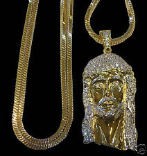 MEN'S NEW 14K GOLD PLATED FRANCO CHAIN & JESUS FACE COMBO SET