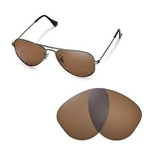 New Walleva Polarized Brown Lenses For Ray-Ban Aviator RB3044 Small Metal 52mm