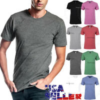 Mens T Shirts Crew Neck Slim Fit Short Sleeves Casual Tri Blend Cotton Solid Tee