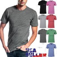 Mens T Shirts Crew Neck Slim Fit Fashion Casual Plain Tri Blend Cotton Solid Tee