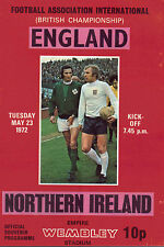 England v Northern Ireland May 23rd 1972 - Official Programme