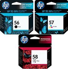 HP Genuine 56 Black + 57 Color + 58 Photo Set of 3 Ink Cartridges