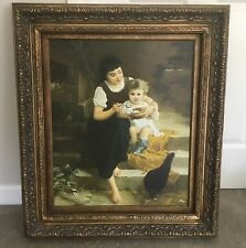 Vintage French Canvas Picture Mother Child Giclee Painting Carved Wood Frame