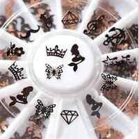 240pc 3D Metal Slice Nail Art Tips Decoration Black Gold Stickers Decal Foil DIY
