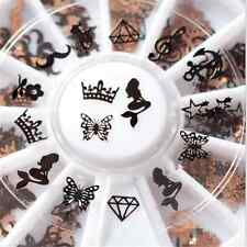240pcs 3D Nail Art Tips Decoration Slice Black Foil Stickers DIY Decal 12 Design
