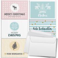 30 Weihnachtskarten Set (5x6) u. Umschlag Set Weihnachten pastellfarben Mix