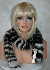 BLACK WHITE FOX FUR  Trim Strip Collar Scarf Headband,  3-04