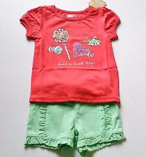 Girls CRAZY 8 outfit 18-24 NWT mint ruffle retro shorts candy t shirt sparkle