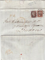 1842 QV LIVERPOOL MX MALTESE CROSS ON COVER WITH 2 x 1d RED STAMPS SCARCE P x L