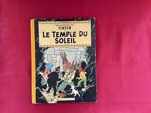 Ancienne BD TINTIN LE TEMPLE DU SOLEIL dos Toilé