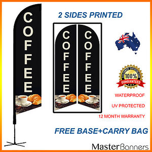 COFFEE Deluxe Double Sided Feather Bow Banner Flag Kit Set Quality Business Sign