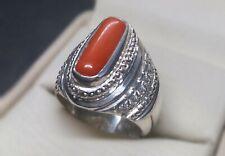 Natural Untreated Rare Marjan Mens Ring Sterling Silver 925 Handmade Coral Ring