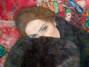 Gustav Klimt, Dame mit Muff 1916, Fade Resistant HD Art Print or Canvas