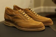 Blu Barret Camel Brown Italian Suede Leather Designer Sneakers Shoes Rare Sz 13